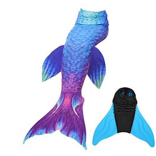 DECOOL Meerjungfrauenflosse für Kinder Schwimmen mit Meerjungfrau Flossen,Geeignet für Kinder und Erwachsene,Höhe 100-165cm
