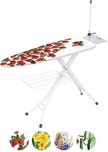 Gimi prestige asse da stiro, con portacaldaia, con griglia portabiancheria, per mancini, con antenna tendifilo, regolabile in altezza, metallo, bianco, 144 x 38 x 90 cm