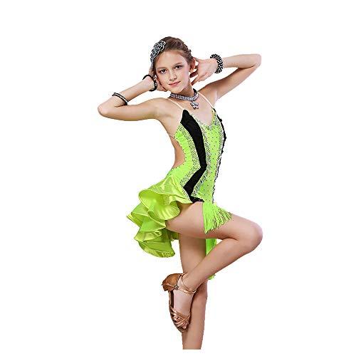 YONGMEI Tanzkostüm - Kinder Latin Dance Kostüme Latin Dance Dress Wettbewerb Performance Pailletten Fringe Drill (Farbe : Green, größe : ()