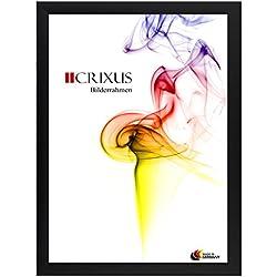 Crixus35 Bilderrahmen für 60 x 137 cm Bilder, Farbe: Schwarz-Matt, Holzrahmen MDF Maßanfertigung mit Acryl Kunstglas und MDF Rückwand innen Weiß lackiert, Rahmen Breite: 35mm, Aussenmaß: 65,6 x 142,6 cm