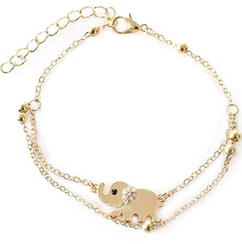 oppelkette Elefant Form Anhänger FußSchmuck Strand Schildkröte Fußkette Ketten für Freunde,Liebhaber Geburtstag Geschenk (A) ()