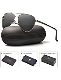 LUENX Men Women Sunglasses Grey Polarized Lens Metal Frame - UV 400 with Accessories style 60MM