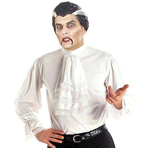 NET TOYS Weißes Rüschenhemd Mittelalter Hemd M/L 50/52 Barock Herrenhemd mit Rüschen Mittelalterliche Kleidung Herren Vampir Gewandung Edelmann Kostüm ()