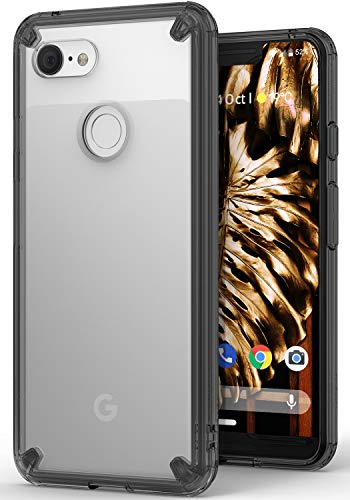 Ringke Fusion Kompatibel mit Pixel 3 XL Hülle Aktualisiert Transparent Rückseite Hart PC Flexibel Schwarz TPU Case Dämpfer Kraztfest Cover Handyhülle für Google Pixel3 XL Schutzhülle - Smoke Black