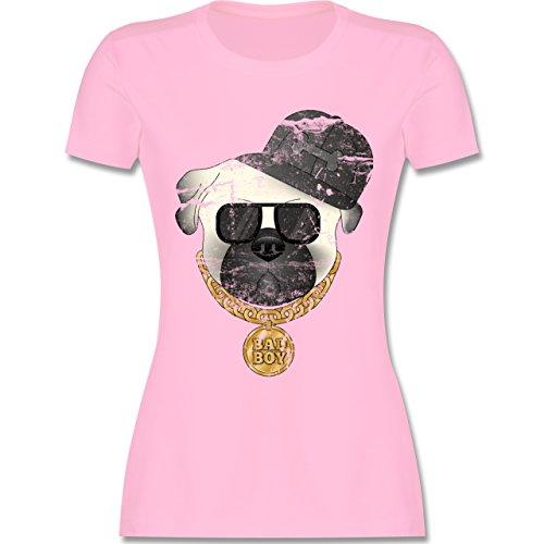 Hunde - Bad Boy Mops Vintage - tailliertes Premium T-Shirt mit Rundhalsausschnitt für Damen Rosa
