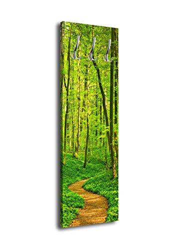 wandmotiv24 Garderobe mit Design Waldpfad G244 40x125cm Wandgarderobe Wald Baum Natur