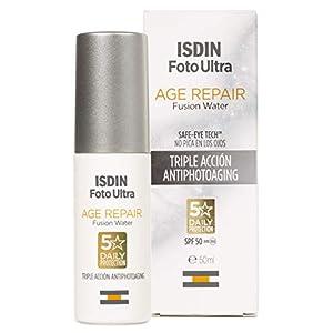 ISDIN FotoUltra Age Repair Fusion Water SPF 50 – Protector solar facial de fase acuosa, triple acción anti-fotoenvejecimiento, 50 ml