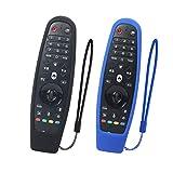 SIKAI 2-Pack Funda Protectora Compatible con LG Smart TV Mando a Distancia AN-MR600 / AN-MR650 / AN-MR650A / AN-MR18BA Magic Remote Carcasa de Silicona Resistente a Prueba de Golpes (Negro-Azul)