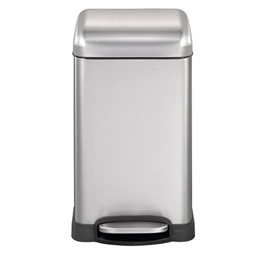 Mari Home - Abfalleimer mit Deckel, sanfter Schließmechanismus, 12Liter, groß, Fingerabdruck-Beweis Edelstahl, Recycling-Behälter, Küchenabfalleimer - Stahl, matt