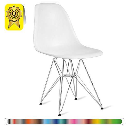 Decopresto 1 x Chaise Design Scandinave Retro Blanc Pieds Acier INOX Chrome DP-DSR-WH-1P