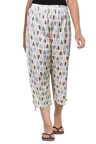 Fflirtygo Women's Comfort Capri, Night Pyjamas for Women, Night Dress, Lounge Wear, Heart Design Printed 3/4 Pyjama,-Soft Cotton Night Wear