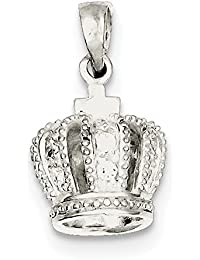 ICE CARATS 925 Sterling Silver Cubic Zirconia Cz 3d Crown Pendant Charm Necklace Fine Jewelry Gift Set For Women Heart