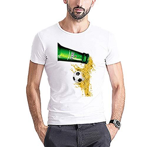 Chejarity Herren Bayerische Oktoberfest Kostüm T-Shirts 3D Gedruckt Muster Einfarbiges Kurze Comfort Bluse Sommer Lässige Wiesn Sweatshirt Freizeit Tops Traditionelle Bekleidung (XL, Weiß) Capri-jumper