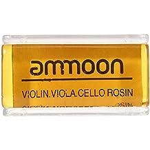 ammoon Clase alta Transparente Naranja La Colofonia Natural con Cuboide Caja de Madera para Violín Viola Violonchelo Hecho a Mano Ligera y Bajo Polvo