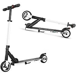 M MEGAWHEELS Elektro Scooter - Phantom Pro Klappbarer City-Roller, Höhenverstellbar, Tret-Roller für Erwachsene und Kinder S1 (Weiß)