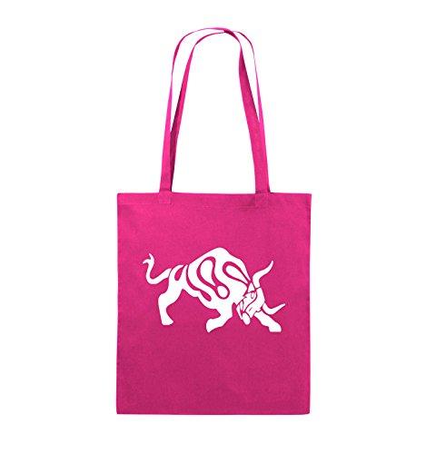 Comedy Bags - STIER - COMIC - Jutebeutel - lange Henkel - 38x42cm - Farbe: Schwarz / Pink Pink / Weiss