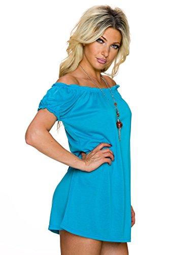 Mesdames chemise chemisier chemise tunique blouses robe courte à manches mini-Carmen-cou Mini robe longue plaine chemise 40,42,44. Turquoise