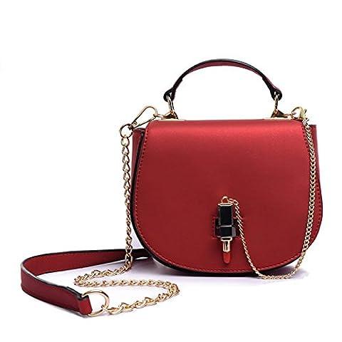 Handtaschen Damen Klein Leder Elegant Schwarz Rot Grün Henkeltasche Umhängetasche Schultertasche Mädchen Ledertasche Crossbody Satchel Tasche Frauen Tote Bag(Rot)