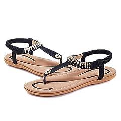 bda4dc2c43d Gracosy Women Summer Low Flat Heel Flip Flop Sandals Slip On Post Thong  Boho Shoes with Rhinestone Roman Sandals Comfy Shoes Clip Toe Beach Sandals  Elastic ...