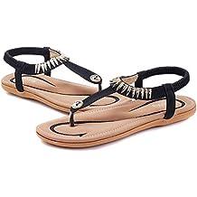 Socofy Sandales Plates Femme, Chaussures Été Tong Strass en Cuir PU Nu Pieds  à Talons 27dfd0dc5225