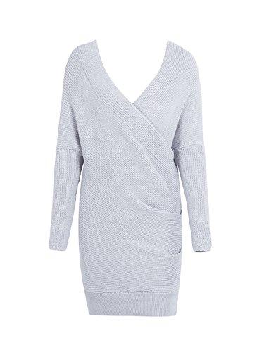 Simplee abbigliamento da donna inverno vestito elegante a maniche lunghe croce scollo a V Spalla Scoperta Bodycon Abito da donna 34–40 Grigio