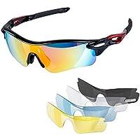 Yomeni polarisées Lunettes de sport avec 5objectifs interchangeables, pour homme femme Cyclisme Baseball Course Pêche Conduite Golf, TR90incassable, Light yellow & Black