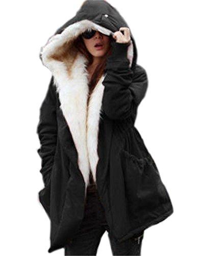 Roiii Frauen Hood Parka Jacke dicken Wintermantel Long Cardigan Plus Size 36-46-50