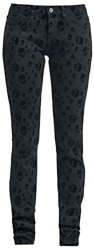 Full Volume by EMP Skull Skarlett (Slim Fit) Pantaloni donna grigio scuro W29L32