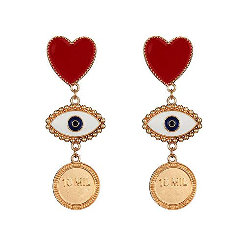 Xafxal signora orecchini,le donne della moda personalità esagerata lunga sezione grandi occhi cuore fascino colore oro monete orecchini a pendente gioielli