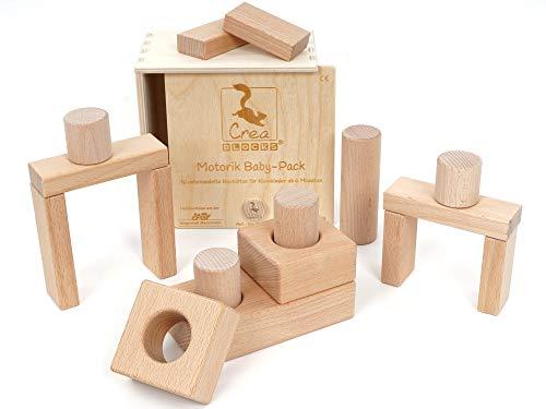 CreaBLOCKS Holzbausteine Motorik Baby-Pack (16 Bauklötze unbehandelt) Holzbauklötze für Kleinkinder ab 6 Monate Holzklötze naturbelassen (in der Schiebedeckelkiste)