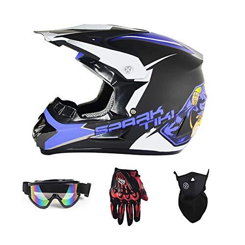 ZNDDB motorradhelm - Personalisierter Helm, All Seasons Universal, Motorrad-Rennrad-Offroad-Helm, mit Handschuhen/Brille / Maske, männlich/weiblich,S