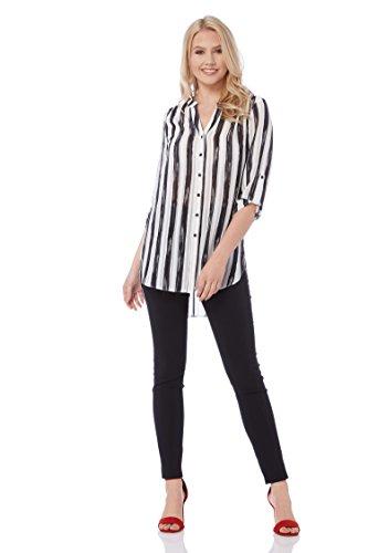 Roman Originals Frauen Roll Ärmel Streifen Shirt - Damen Monochrom Print Daytime Arbeit Business Interview Blusen - Schwarz - Größe 42 (Shirt Roll Stripe Sleeve)