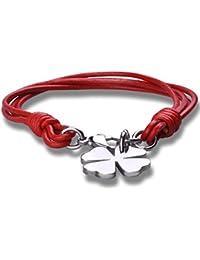 Stayoung Jewellery Moda Unisex Pulsera/Brazalete Acero Inoxidable Cuero Trenzado Trébol de cuatro hojas, 8 Colores