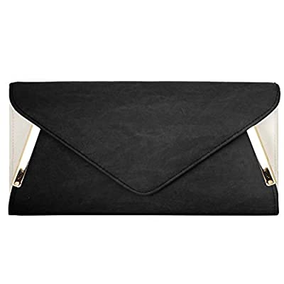 BMC Womens PU Leather Envelope Clutch Two Tone Evening Crossbody Bag Purse Handbag w/Detachable Shoulder Chain - Spacious & Chic Formal Fashion - Various Colors w/White Accent