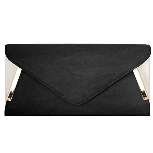 BMC Damen Lasche, aus PU-Leder, aus Metall, Weiß-Accent Fashion Clutch-Handtasche Midnight Black