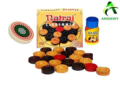 ARSDEWY Natraj Wooden Carrom Coins (24 Carrom Coins with 1 Striker & 1 Powder)