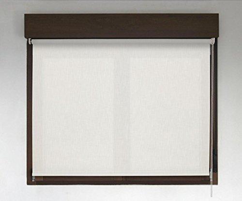 Estor enrollable PREMIUM (desde 40 hasta 300cm de ancho) translúcido efecto tela (permite paso de luz, no permite ver el exterior/interior. El color no es liso simula el efecto tela). Color blanco. Medida 110cm x 160cm para ventanas y puertas