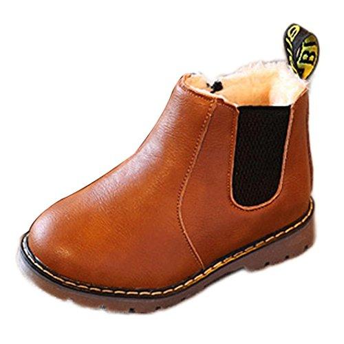 Baby Mädchen Schuhe Jungen und Mädchen kurze Stiefel Britische Stiefel Stiefel Stiefel Retro Martin Stiefel Echtes Leder Blumen Baby Schuhe Simonabo Herbst (26, Braun) (Lace Up Stiefel Kind)