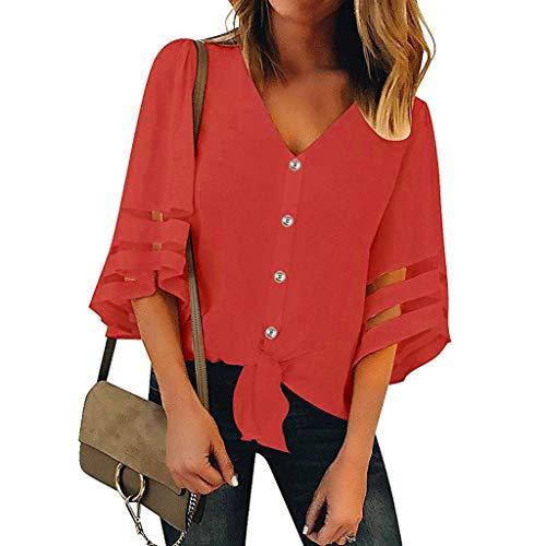 Oksea Knopfleiste mit V Ausschnitt Damen Button V Ausschnitt T-Shirt mit kurzen Ärmeln Damen Button V usschnitt Mesh Panel Bluse 3/4 Bell Sleeve Lose Top ()