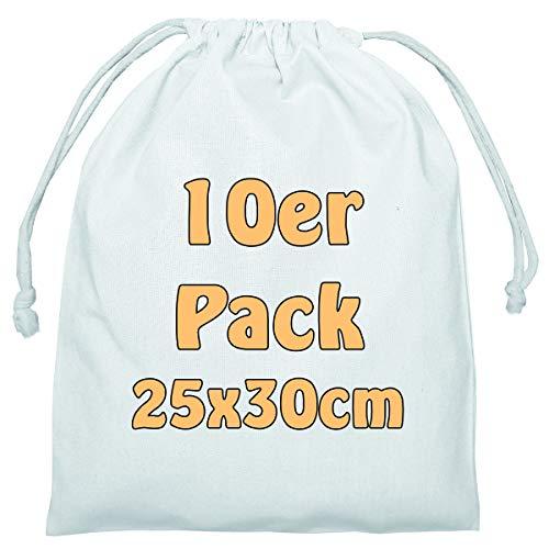 Cottonbagjoe Baumwollbeutel Stoffbeutel mit Kordelzug Lunchsack Kosmetikbeutel Sockenbeutel Schmucksäckchen Spielzeugtäschchen für Kleinigkeiten 25x30cm (weiß, 10 Stück) - Weiße Baumwoll-kordelzug