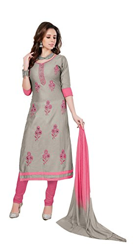 Oomph! Women's Unstitched Salwar Suit/Dress Material/Embroidered Cotton Dress Material, light grey and...