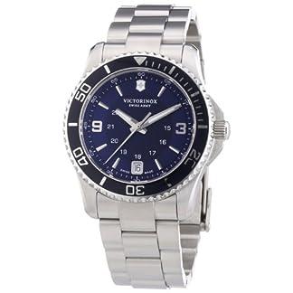 Victorinox Swiss Army Maverick 241609 – Reloj analógico de Cuarzo para Mujer, Correa de Acero Inoxidable Color Plateado (Agujas luminiscentes)