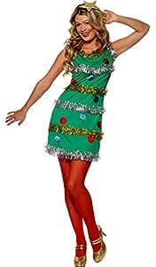 Magica Clown Costume Glitter Natale abete albero donna costume adulto, S, verde