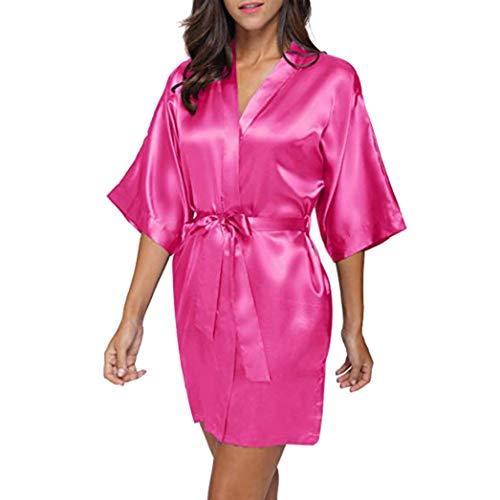 Strung Damen Morgenmantel Kimono Satin Kurz Robe Bademantel Nachtwäsche Sleepwear V Ausschnitt mit Gürtel Frauen Schlafanzug Unterwäsche Sexy Pyjama Reizvolle Lingerie Pyjama (Rose Rot,M)