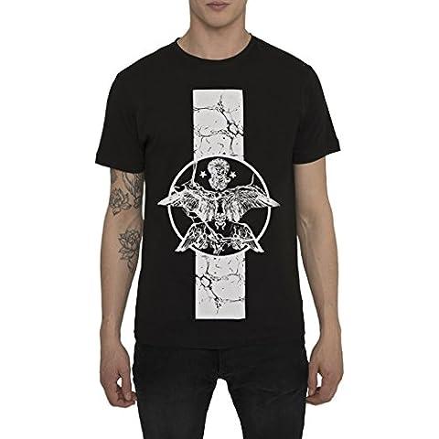 Maglietta Nera da Uomo - T Shirt Urban Fashion Rock Style - Maglia con Stampa - FALLEN ANGEL - 100% Cotone Jersey - Girocollo - Manica Corta - Magliette Moda Designer per Uomo S M L XL XXL