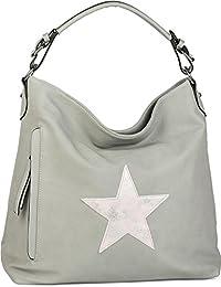 styleBREAKER Shopper Handtasche im Vintage Look mit Stern, Schultertasche,  Umhängetasche, Damen 02012076 b782030e08