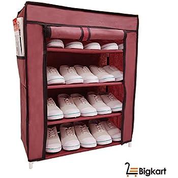 BigKart Multi Purpose Foldable Shoe Rack Cabinet Organiser 4 Shelves, Dust Proof, Maroon (Iron and Non Woven Fabric)