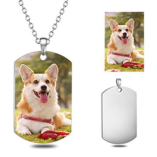 WINNICACA Color Photo Personalisierte Halskette für Frauen Rechteck Benutzerdefinierte Gravierte Military Dog Tags Anhänger Halskette Schmuck Weihnachten Freundschaft Geschenke