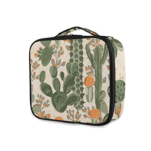 SUGARHE Aquarell-Muster-grüne saftige Kaktus-Orangen-Blumen-Natur-mexikanische Wüsten-Birnen-stacheliges mit Blumen,Kosmetik Reise Kulturbeutel Täschchen mit Reißverschluss -