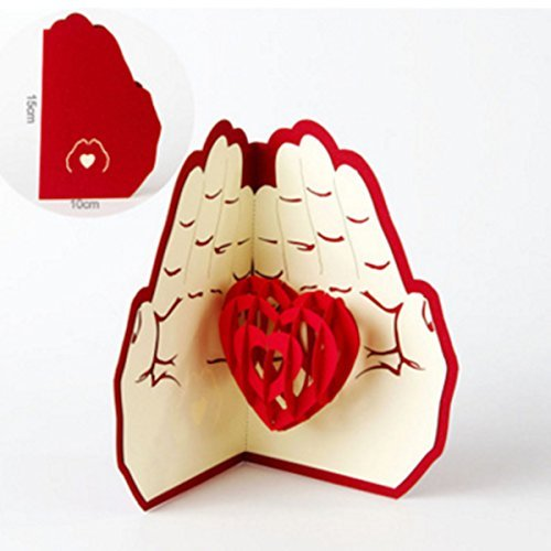 Cicy heart handmade 3d pop up biglietti di auguri cartolina happy birthday love in mani good luck wedding anniversary friendship merry christmas thanksgiving festa del papà, san valentino,